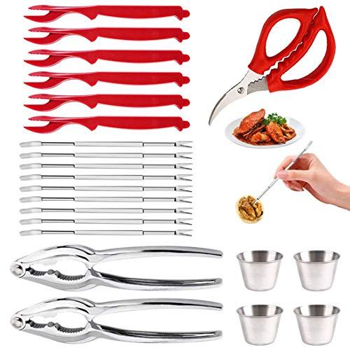 Alumuk Meeresfrüchte Werkzeuge Set 22 Stück - 2 Nussknacker +1 Hummer Scher +9 Edelstahl Gabeln +6 Hummerschäler + 4 Saucenbecher Geeignet Nüsse oder Schalentiere