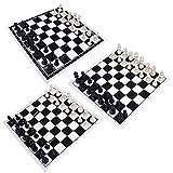 XuZeLii Juego De Ajedrez Plegable Portátil 32 Piezas de plástico y Tablero de ajedrez Rollo Negro Torneo de Ajedrez Juego de Ajedrez Apto para Familia (Color : Black+White, Size : 2)