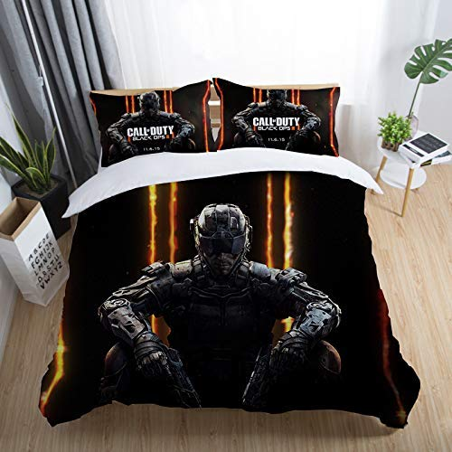 888 AIMENDESI Duvet Cover Sets 3D Call Of Duty Printing Cartoon Bedding Set With Zipper Closure 100% Polyester Gift Duvet Cover 3 Pieces Set With 2 Pillowcases J-Queen89*89'(228 * 228cm)