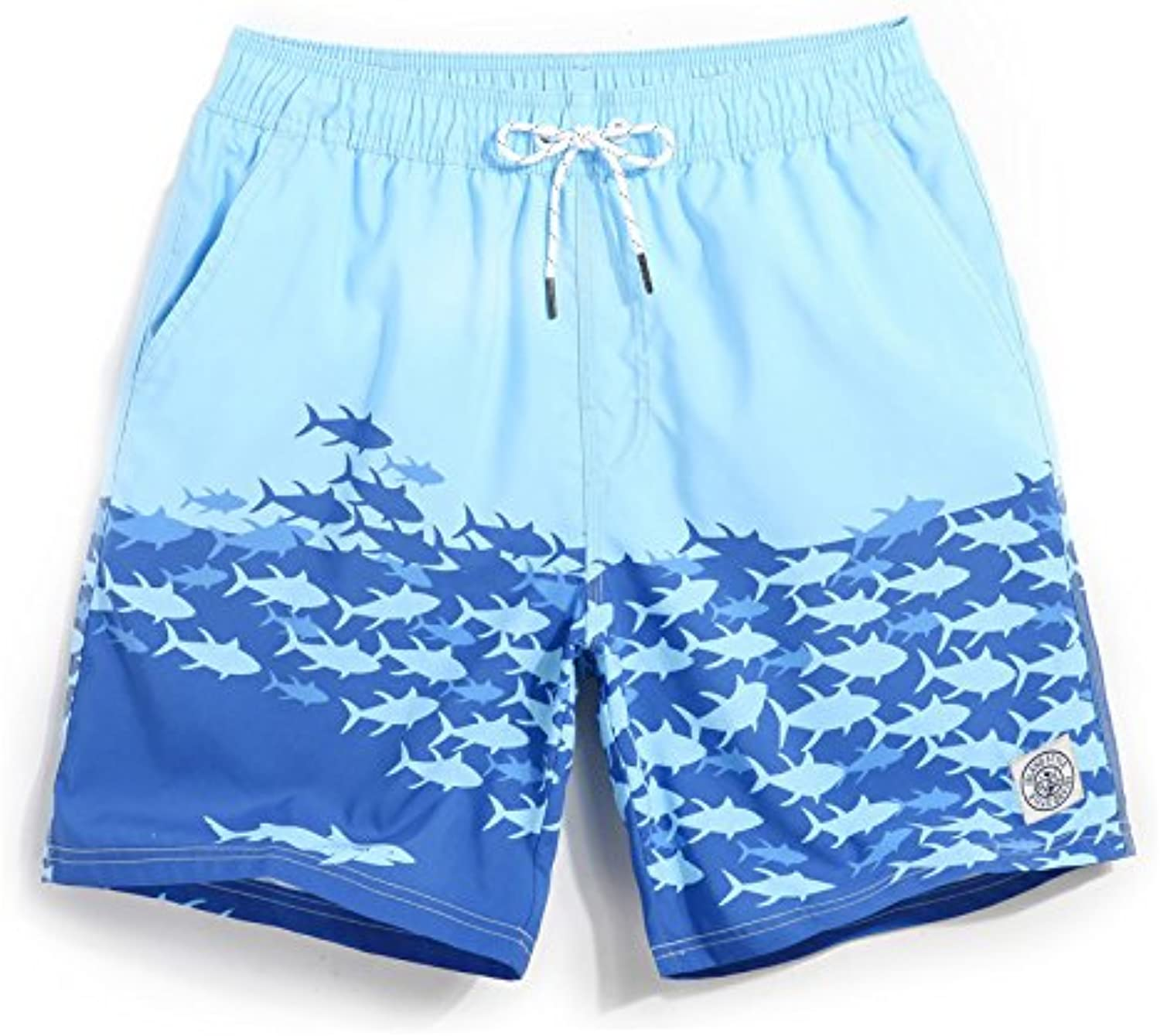 HAIYOUVK Beach pants men's quick-drying loose large size printing casual shorts hot spring shorts male Boxer swimming trunks with lining