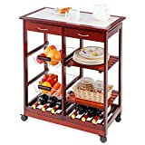 DREAMADE Carrello da Cucina con 2 Portabottiglie Carrello da Cucina in Legno con 2 Cassetti 67x37x76cm (Marrone)