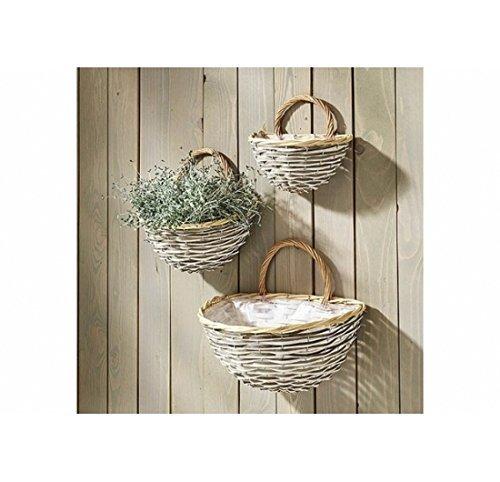 Wandkorb bepflanzbar aus Weide und Chipwood - 3er Set