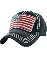 BHM-205-AF-RWB-06 Mens Baseball Cap - American Flag (Red White Blue) - Black