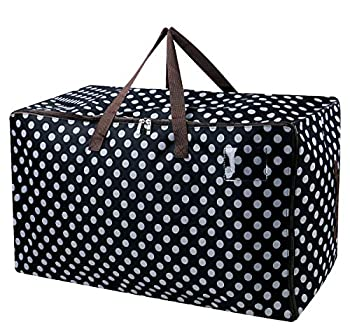 AMJ Oversized Storage Bag Foldable Moving Bag Travel Duffel Bag Huge Heavy Duty Laundry Organizer Carrying Jumbo Bag for Comforter Clothes Beddings Pillows Black Dot