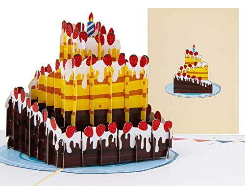 LIMAH® Pop-Up 3D Grußkarte/Geburtstagskarte, Einladungskarte, Geschenkkarte/Torte, Kuchen Motiv/für Kinder, Erwachsene/in Beige/Groß