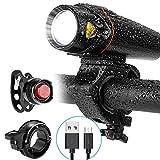 FDYZS Conjunto de luz de Bicicletas Recargables USB, Potente LED USB Recargable Frente fácilmente instalaciones, la Bicicleta de montaña, la Bicicleta de la Carretera, el Ciclismo,B