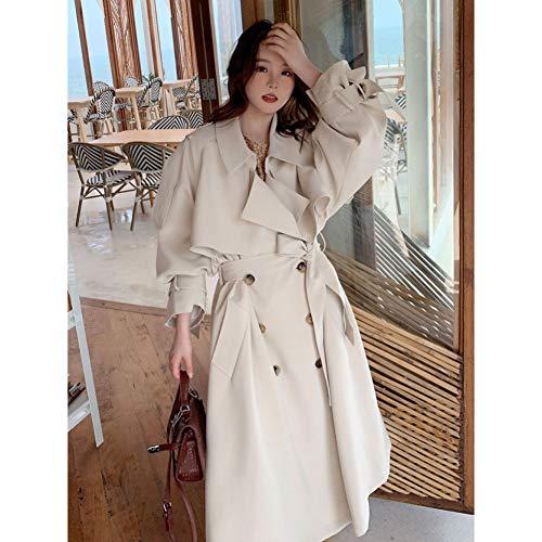 DAIDAILYQ Beige Langer Zweireihiger Trenchcoat Für Damen Lady Duster Coat Weiblicher Umhang Frühling Herbst Oberbekleidung Kleidung