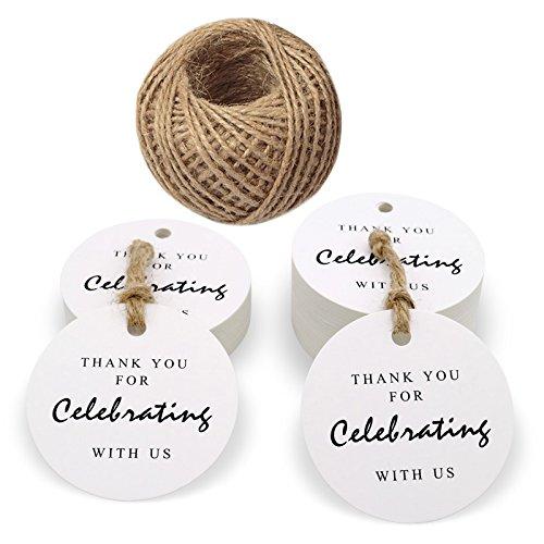 Etichette rotonde con scritta 'Thank you for festeggiare con noi', confezione da 100 etichette per bomboniere, con cordino da 30 m 5.5 CM bianco