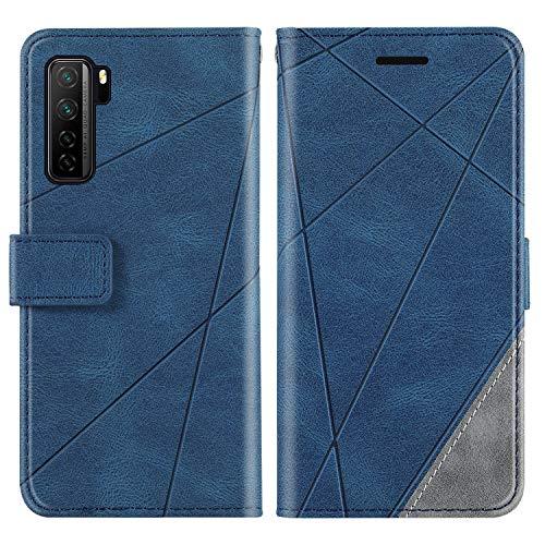 KKEIKO Hülle für Huawei P40 Lite 5G / Nova 7 SE, Brieftasche PU Leder Schutzhülle Klapphülle Tasche mit Kartensteckplatz, Stoßfest TPU Hülle für Huawei P40 Lite 5G / Nova 7 SE - Blau
