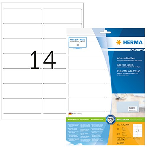 HERMA 8635 Adressaufkleber DIN A4 (99,1 x 38,1 mm, 10 Blatt, Papier, matt) selbstklebend, bedruckbar, permanent haftende Universal Etiketten, 140 Klebeetiketten, weiß