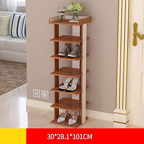 ZTMN Schuhregal Schrankschuhe, Tür [mehrschichtig] Home Schuhschrank Multifunktions-Eck-Eingang Schmale Spurweite (Farbe: Holzmaserung, Größe: 30 * 28,1 * 101 cm)