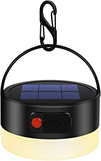 FENGTUOW Camping Lights, Rechargeable Solar Camping Lamp Flashlight Multifunctional Portable Led Waterproof Round Tent Lan...