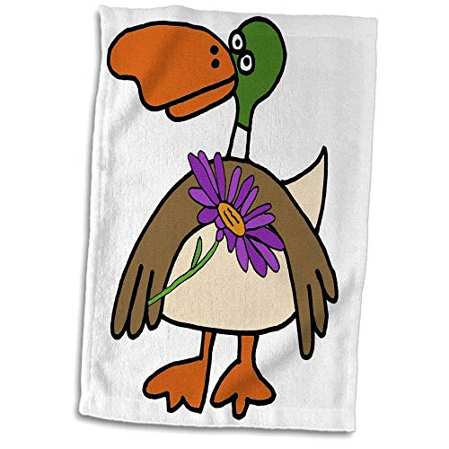 3dRose Cute Funny Mallard Duck with Purple Daisy Flower Cartoon - Towels (twl_293151_1)