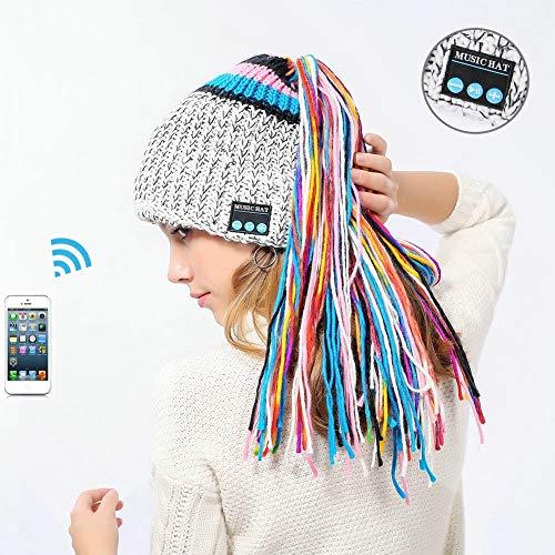 Bluetooth beanie muts, V4.2 warme lange gevlochten gebreide muts USB opladen 2H song-Call hoorns 6H afneembare en wasbare vuile vlechtwerk muts geschikt voor skiën, skaten, wandelen