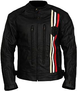 Triumph Retro Rider - Chaqueta de Piel para Motocicleta, Color Negro