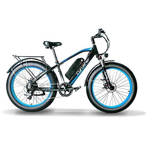 Cyrusher XF650 1000W Electric Mountain Bike 264 inch Fat Tire e-Bike 7 Speeds Beach Cruiser Mens Sports Mountain Bike for Adults,48V 13AH Lithium Battery Beach Cruiser for Adults (Blue)