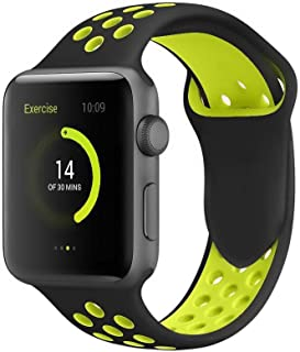 Black Breathable sport silicone watch Band For Smart Watch with yellow holes for Iwatch 42mm