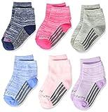 Skechers Kids Kids' Toddler Skechers Baby 6 Pack Anklet Socks, Purple/White, 2-4T