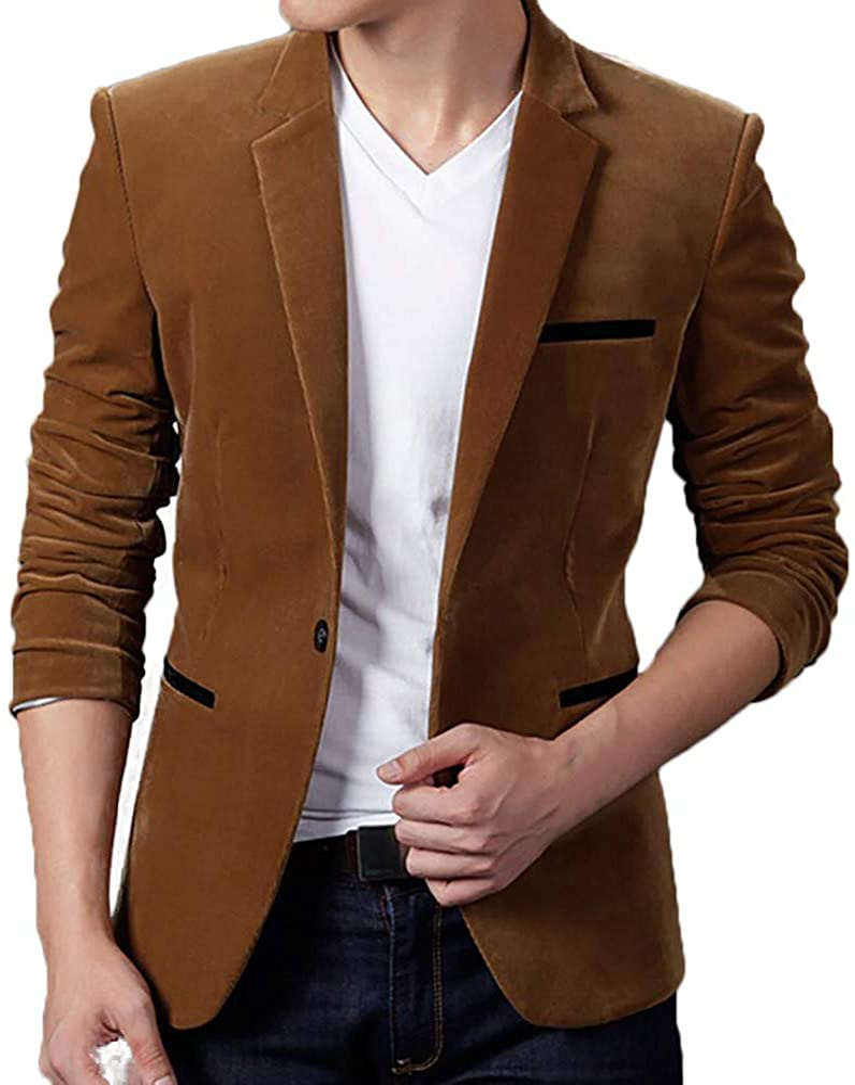 Men's Autumn Winter Fashion Casual Fit Corduroy Slim Long Sleeve Coat Suit Jacket Blazer Top