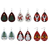 Hanwuo - Pendientes de Navidad para mujer, 6 pares de pendientes de Papá Noel con diseño de alce