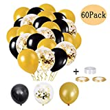 Konfetti Luftballons, Schwarzer Ballon, Latex Helium Luftballons, 60 Stück Schwarz Gold Ballons für Hochzeit Baby Shower Birthday Party Dekoration Luftballons Halloween Deko