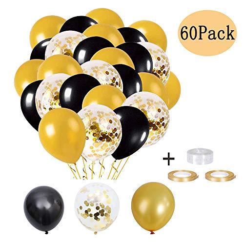Konfetti Luftballons, Schwarzer Ballon, Latex Helium Luftballons, 60 Stück Schwarz Gold Ballons für Hochzeit Baby Shower Birthday Party Dekoration Luftballons Halloween Deko