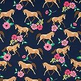 0,5m Jersey Horses & Flowers Pferde und Blumen