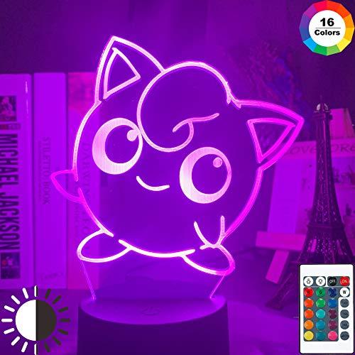 KangYD 3D Nachtlicht Pokemon Cute Jigglypuff Figur, LED Illusionslampe, C - Berühren Sie Crack White (7 Farben), Geschenk für Mädchen, Schreibtischlampe, Bar Dekor, Dekor Geschenk