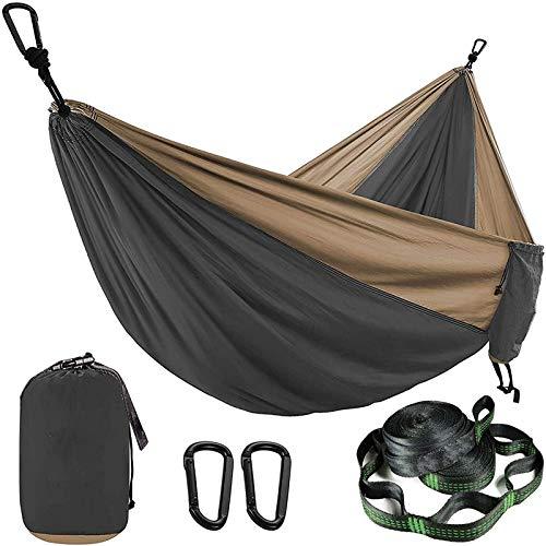 Hamaca de Camping portátil, Hamaca de paracaídas de Color sólido con Correas de Hamaca y mosquetón Negro, Equipo de Supervivencia para Acampar al Aire Libre