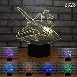 WxzXyubo Regalo de vacaciones del juguete de los niños del aeroplano LED de la luz de la noche 3D - 16 colores