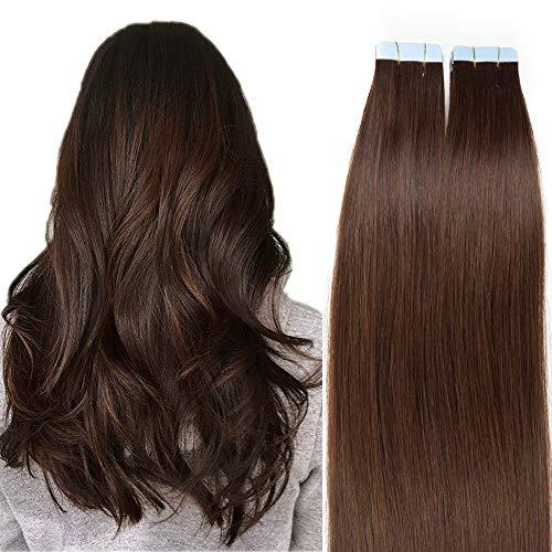 SEGO Tape Extensions Echthaar 20 Stück Klebeband Haarverlängerung Haarteile 100% Remy Human Haar Mittelbraun#4 18