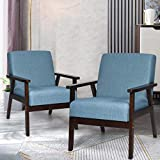 Giantex Set of 2 Mid-Century Modern Accent Chair, Retro Fabric Armchair w/Tufted Back, Solid Hardwood Made, Upholstered Linen Lounge Arm Chair for Living Room (Blue)