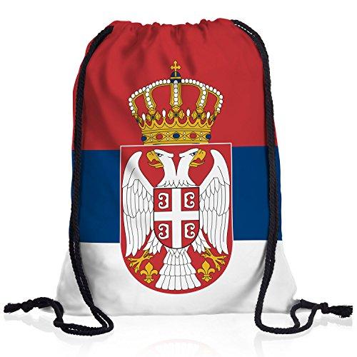 style3 Serbien Turnbeutel Rucksack Tasche Serbia Flagge WM EM Sport Beutel Festival Fahne Uni Schule...