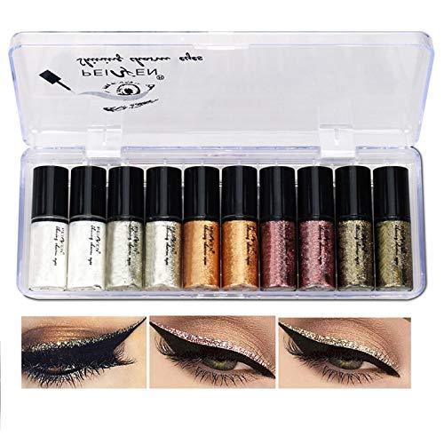 Lucoss Delineador de Ojos de Colores - Liquid Eyeliner Purpurina Juego de Lapiz de Ojos Waterproof Brillo