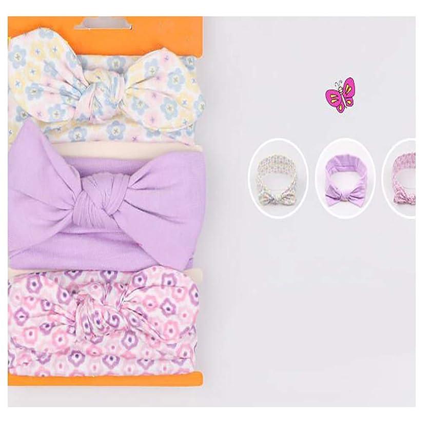 科学者妨げる電卓Timesuer 紫色の新しい子供のヘアバンド女性の孟バオ綿の弓のヘアバンド3ロード赤の弾性ヘッドバンド1セット3