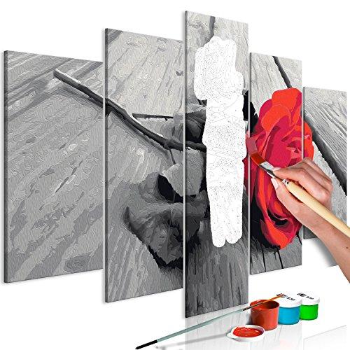 murando - Malen nach Zahlen Rose Holz 100x50 cm 5 TLG Malset mit Holzrahmen auf Leinwand für Erwachsene Kinder Gemälde Handgemalt Kit DIY Geschenk Dekoration n-A-0608-d-m