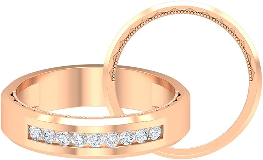 1/3 CT D-VSSI Moissanite Ring, 1.7 MM Wedding band, Round Shape Gold Engagement Ring, Anniversary Ring, 14K Gold