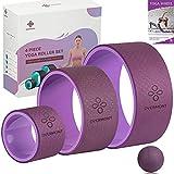 Overmont Juego de Ruedas de Yoga, Paquete de 3 Tamaños Rodillos de Espuma de Yoga, Dolor de Espalda, Flexiones y Estiramientos para Aumentar la Fuerza y la Flexibilidad, Bola de Masaje Incluida