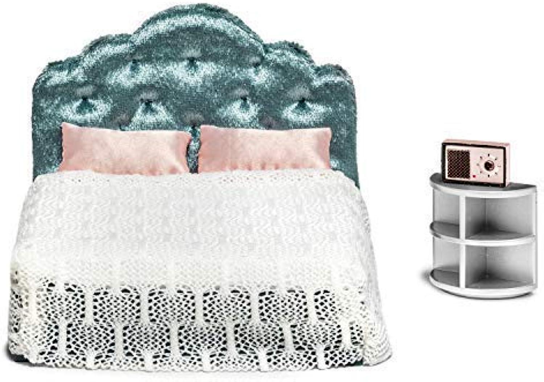Melody Jane Lundby Dollhouse Bedroom Furniture Set Modern Bed & Bedside Table