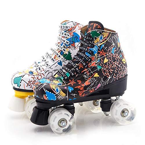 LBWNB Komfortables Roller Skates Rollschuhe Disco Roller LED Lichter Blinken Für Kid Jungen Mädchen Rollschuhe,Schwarz,31