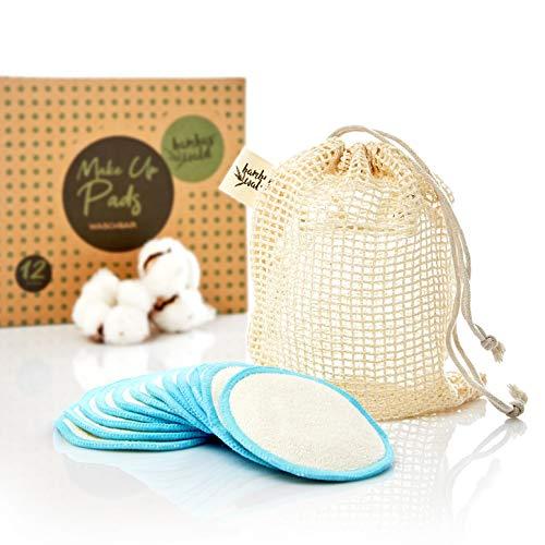 Pack de 6 tampons nettoyants ou démaquillants écologiques en bambou | tampons cosmétiques avec sac de transport pour le nettoyage du visage, démaquillant. Lingettes nettoyantes lavables