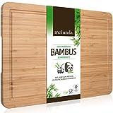 Molunda Schneidebrett aus 100% Bio-Bambus 45 x 30 x 2 cm XL – FSC® Zertifiziertes Antibakterielles Holz Küchenbrett   Mit Saftrille und Griffmulden