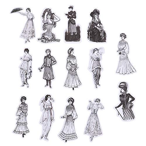 PMSMT 14 unids/Pack Vintage Europeo señoras Retro Personaje Moda Vestido diseño decoración Pegatina DIY Scrapbooking Etiqueta Adhesiva Juguetes