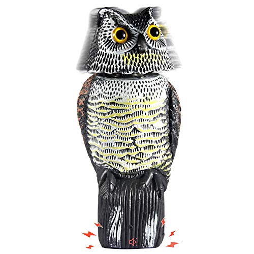 Ohuhu Fake Owl Decoy Statue with Rotating Head & Scary Sounds to Scare Birds Away