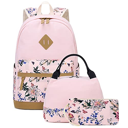 Backpack for Teen Girls Sunborls Pastoral Canvas Printing Lightweight High-capacity Middle Student Bookbag Women College Elegant Backpack with Lunch bag 3Pcs (Pink)