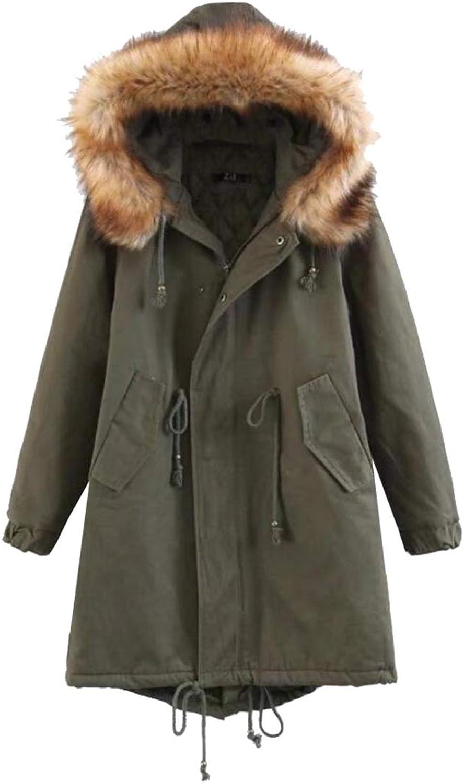 PujinggeCA Womens Hooded Warm Down Jacket Winter Faux Fur Lined Coats Parkas Outwear
