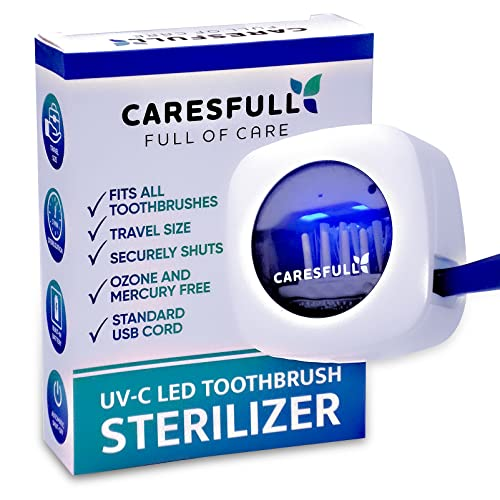 CARESFULL UV Toothbrush Sanitizer - Toothbrush Sterilizer - Fits All Toothbrushes, Safety Feature, for Home and Travel