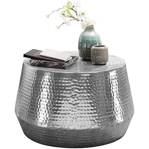 FineBuy Tavolino Salotto Metallo 60x36x60 cm Tavolino da Esterno Argento Martellato   Tavolo da Soggiorno Rotondo   Design Tavolino Moderno
