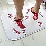 Halloween Bath Mat Bloody Footprint - Bath Mat Changes Color When Wet - Non-Slip Rug Halloween Scare Your Friends - Sheet, for Shower/Bathroom A