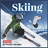 Skiing Calendar 2021: Beautiful Skiing Photos Monthly Calendar 16 Month Wall & Office Calendar Cute Gift For Skiing Lover Women & Men Girls & Boys